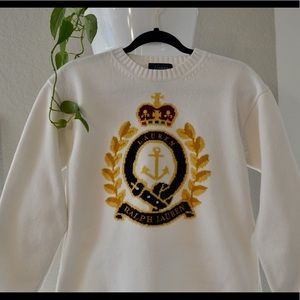 Vintage 90s Ralph Lauren crest knit sweater